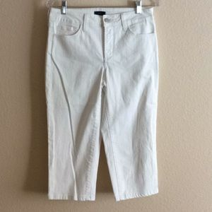 NYDJ White Crop Pants Embellished Pockets